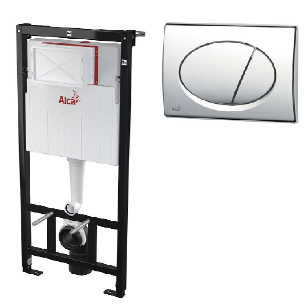 Инсталляция для унитаза с кнопкой Alcaplast AM101/1120 M70 (белая), комплект