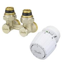 Danfoss RLV-KS/RTR 7090 013G2133 Комплект для радиаторов с нижним подключением, состоящий из клапана RLV-KS и термостата RTR7090, для установки на клапаны RTR, G ¾ A; G ½ A, угловой