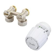 Danfoss RLV-KS/RTR 7090 013G2134 Комплект для радиаторов с нижним подключением, состоящий из клапана RLV-KS и термостата RTR7090, для установки на клапаны RTR, G ¾ A; G ¾ A, угловой