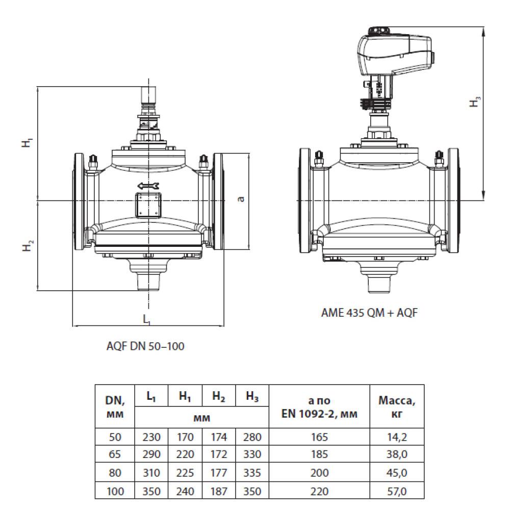 Клапан балансировочный AQF Danfoss 003Z1975 Ду100, комбинированный, фланцевый, чугун, с ниппелями