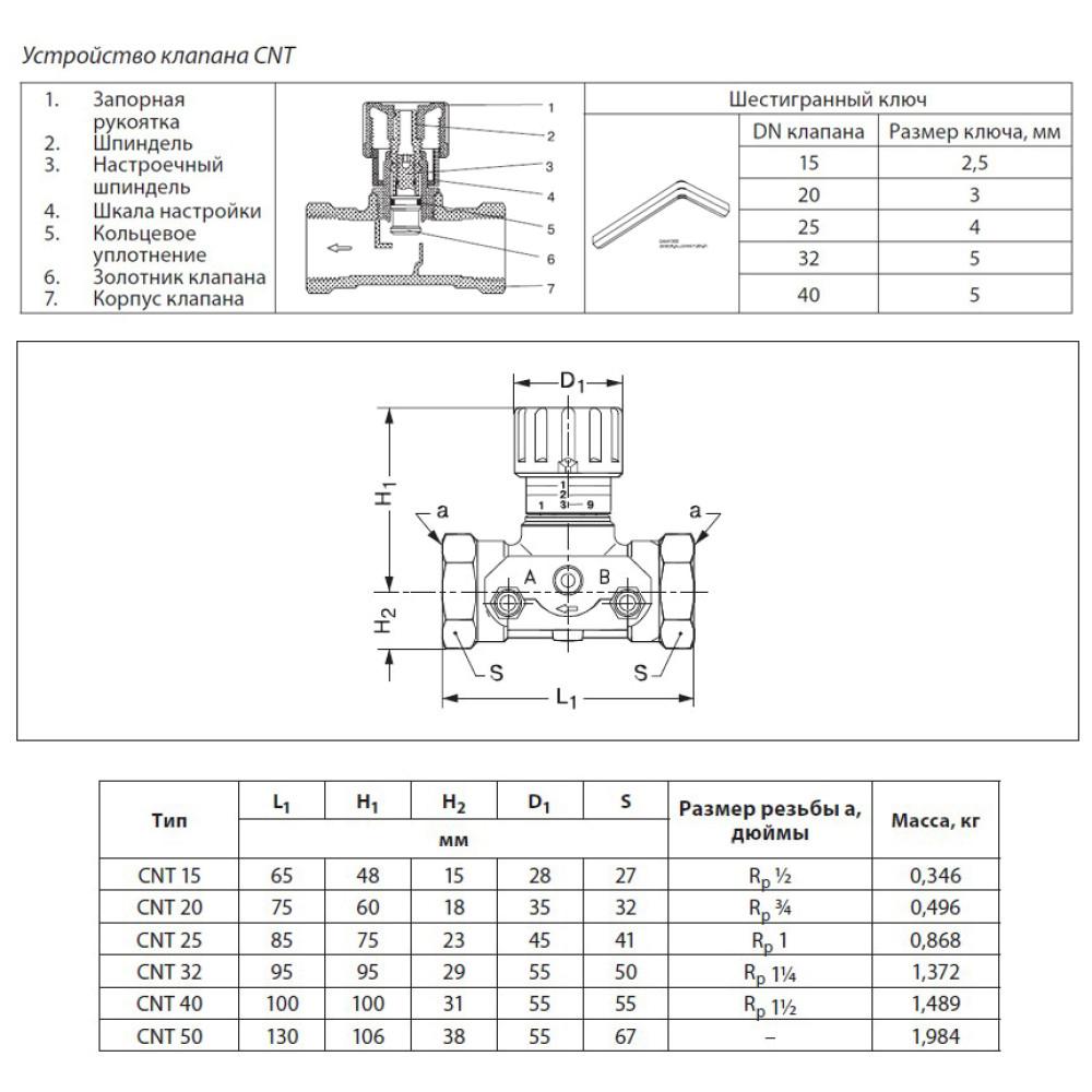 Балансировочный клапан CNT Danfoss 003Z7641 Ду15, Kvs 1,6, BP 1/2, латунь, с ниппелями