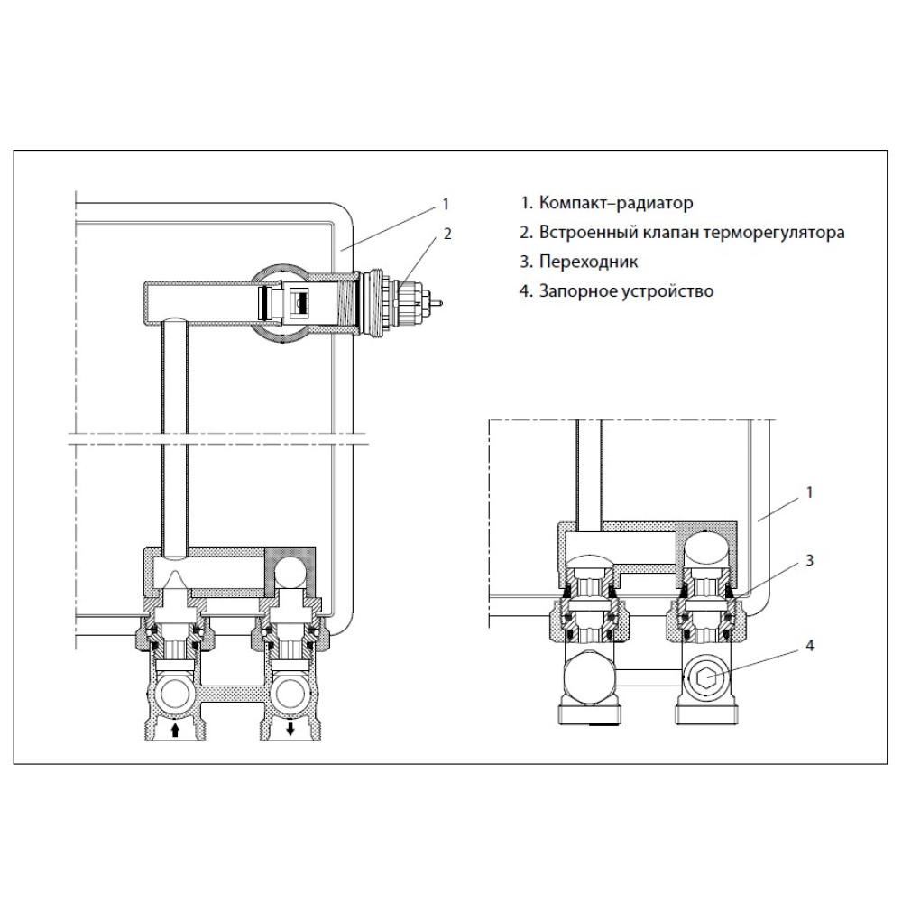 Запорно-присоединительный клапан Danfoss RLV-KS 003L0220