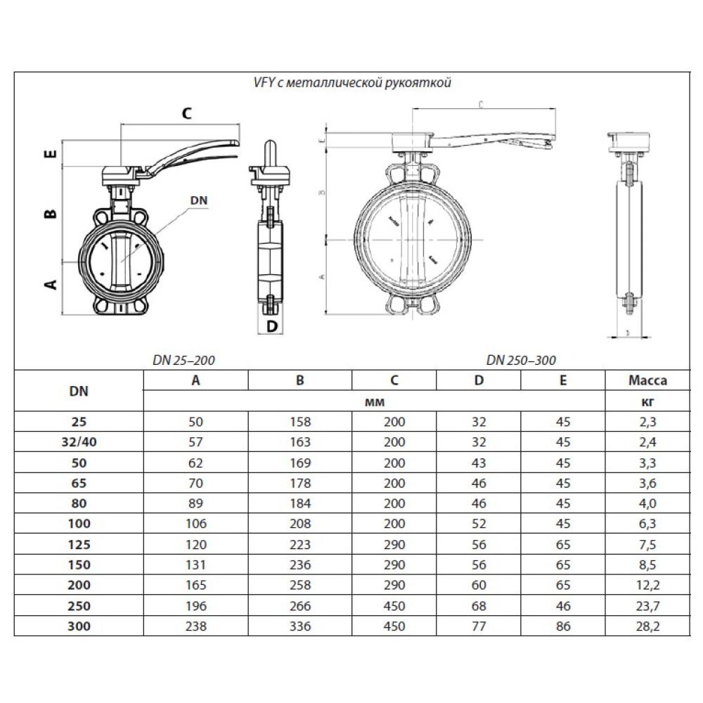 Затвор дисковый Danfoss 065B8405 VFY-WH
