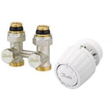 Danfoss RLV-KS/RTR 7090 013G2131 Комплект для радиаторов с нижним подключением, состоящий из клапана RLV-KS и термостата RTR7090, для установки на клапаны RTR, G ¾ A; G ½ A, прямой