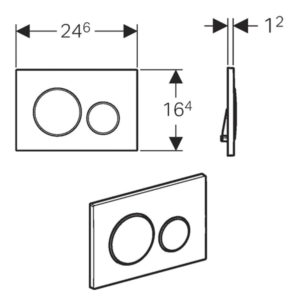 Geberit Sigma20 115.882.KN.1 Кнопка смыва матовый хром/хром