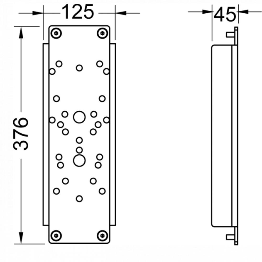 TECE 9042016 Комплект стальных пластин TECEprofil E 376х125мм для крепления поручня