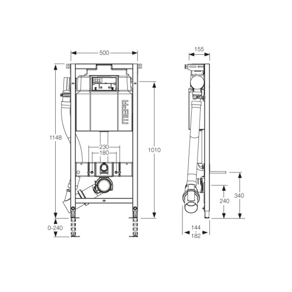 MEPA/VariVIT A31 AIR WC AUTO Инсталляция для подвесного унитаза с системой удаления запахов