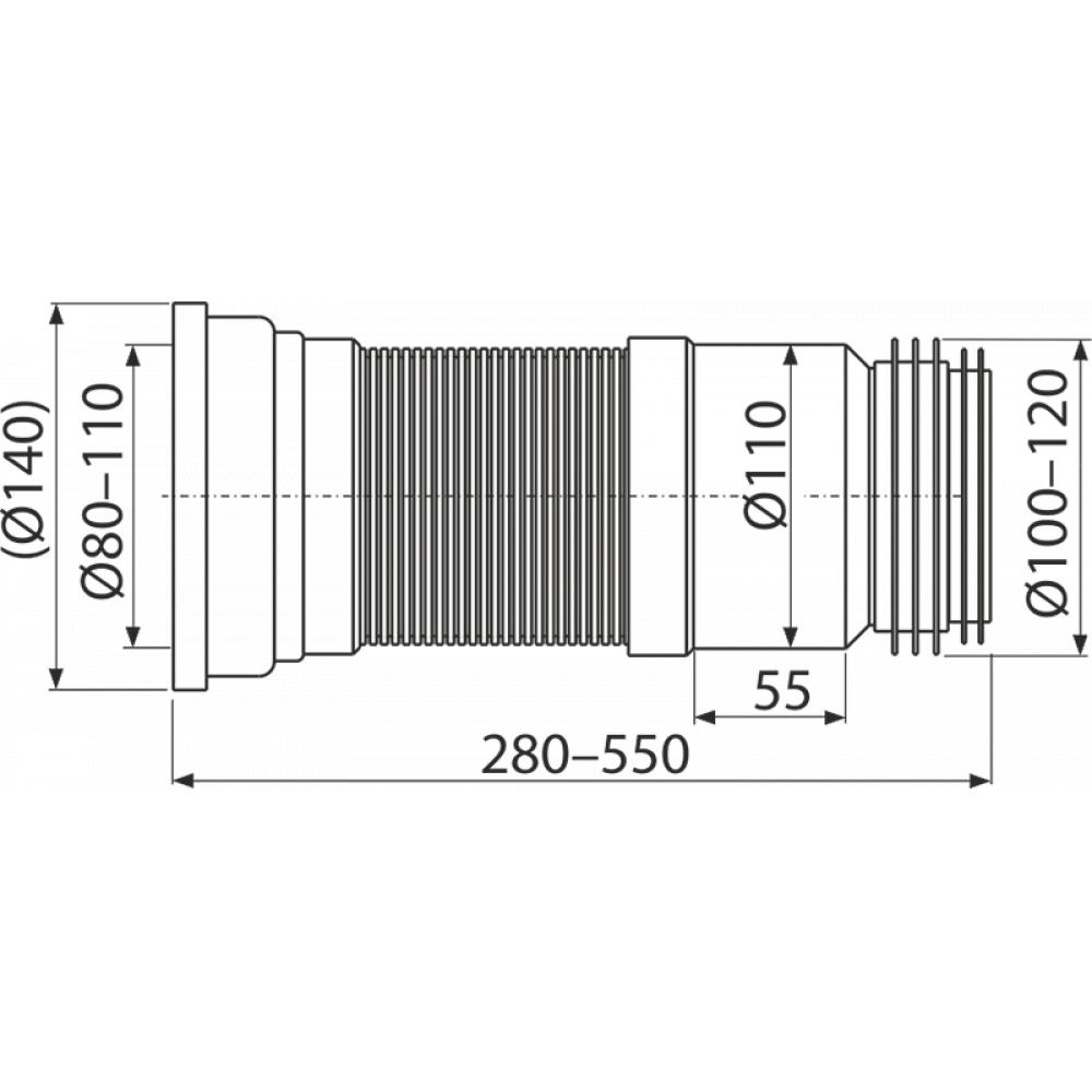 Гофра для унитаза Alcaplast A970 280-550мм