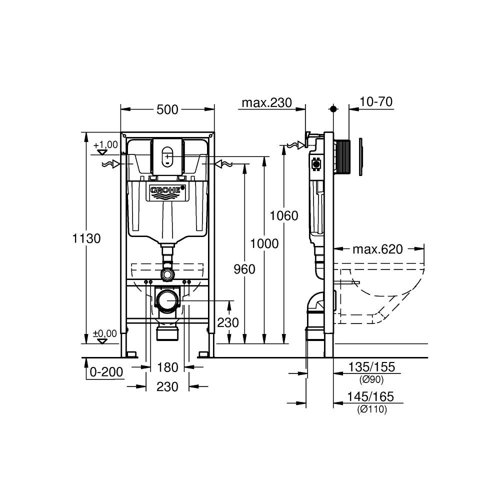 Инсталляция для унитаза 5 в 1 Grohe Rapid SL 38929000 комплект с кнопкой хром