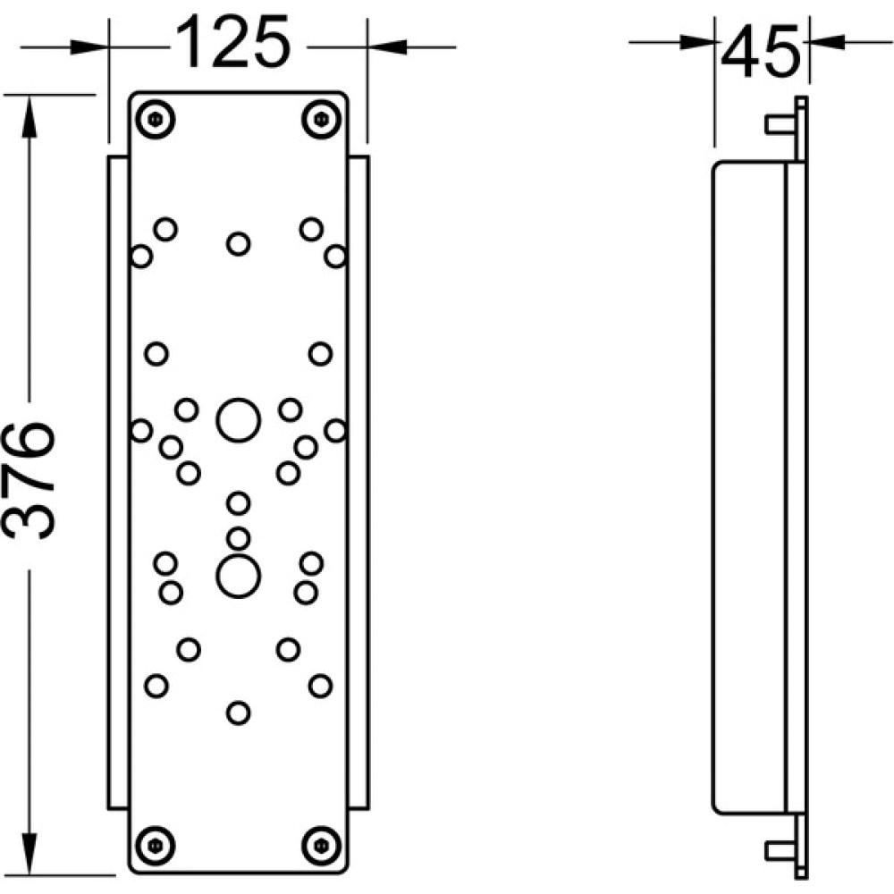 TECE 9042013  Комплект стальных пластин TECEprofil D для крепления поручня 376х125мм, для 9300009