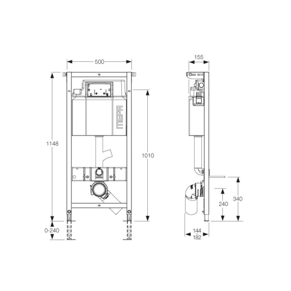 MEPA/VariVIT A31 Инсталляция для подвесного унитаза с выпуском для вентиляции