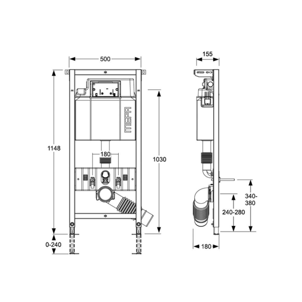 MEPA/VariVIT A31 Step инсталляция для унитаза с регулировкой по высоте
