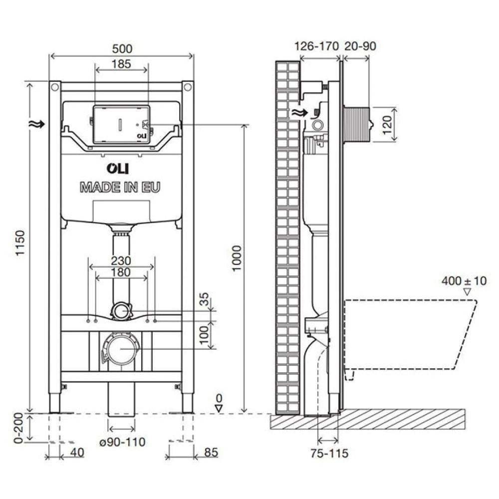 Инсталляция для унитаза OLI120 Sanitarblock 100409m