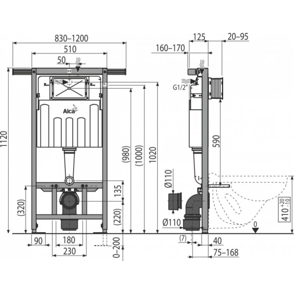 Инсталляция для унитаза Alcaplast AM102/1120 для панельных домов