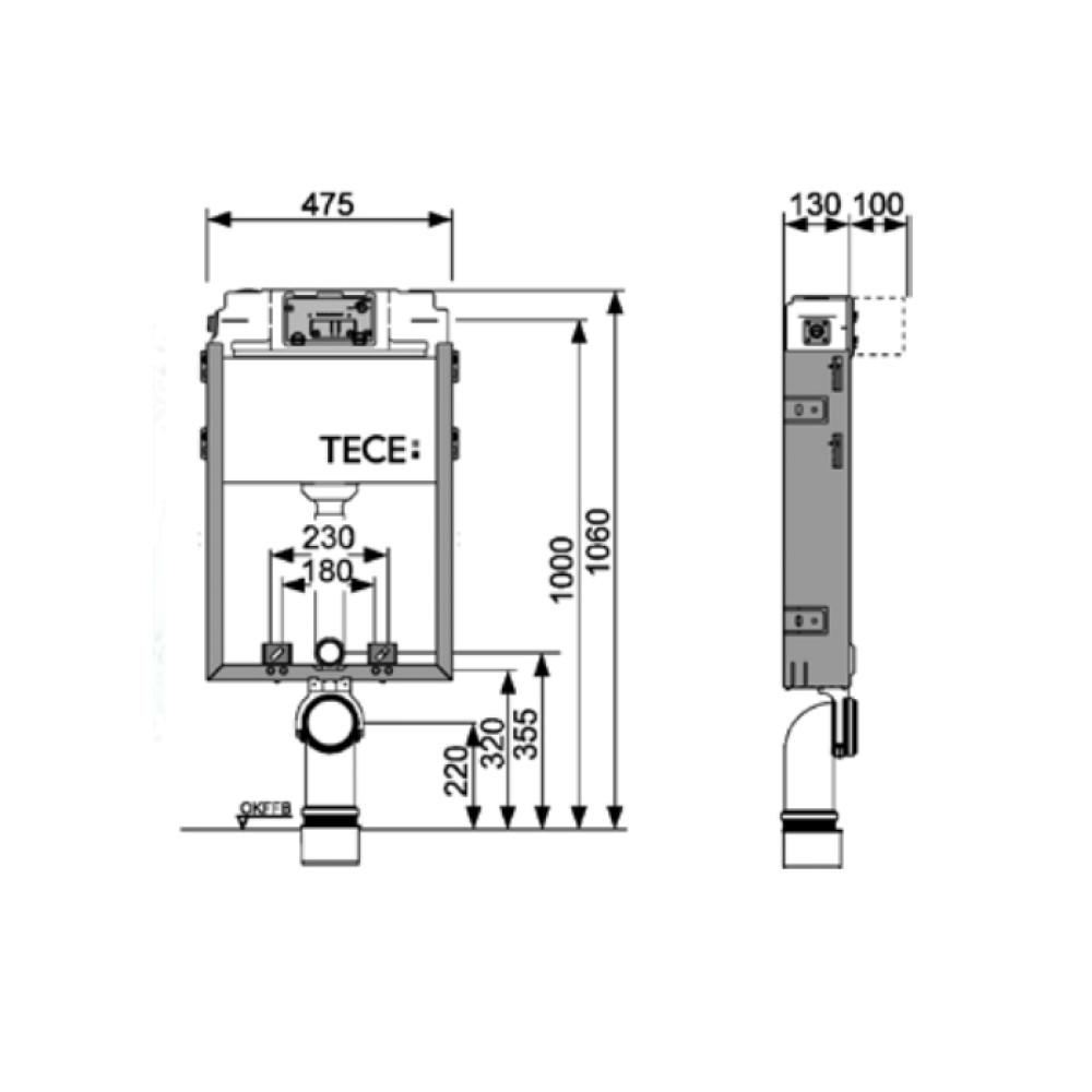 Застенный модуль TECEbox со смывным бачком Uni 9370000