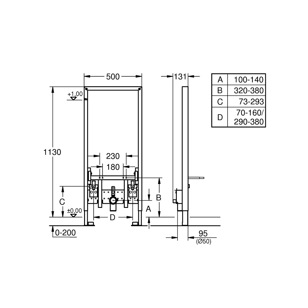 GROHE Rapid SL 38553001 инсталляция для биде