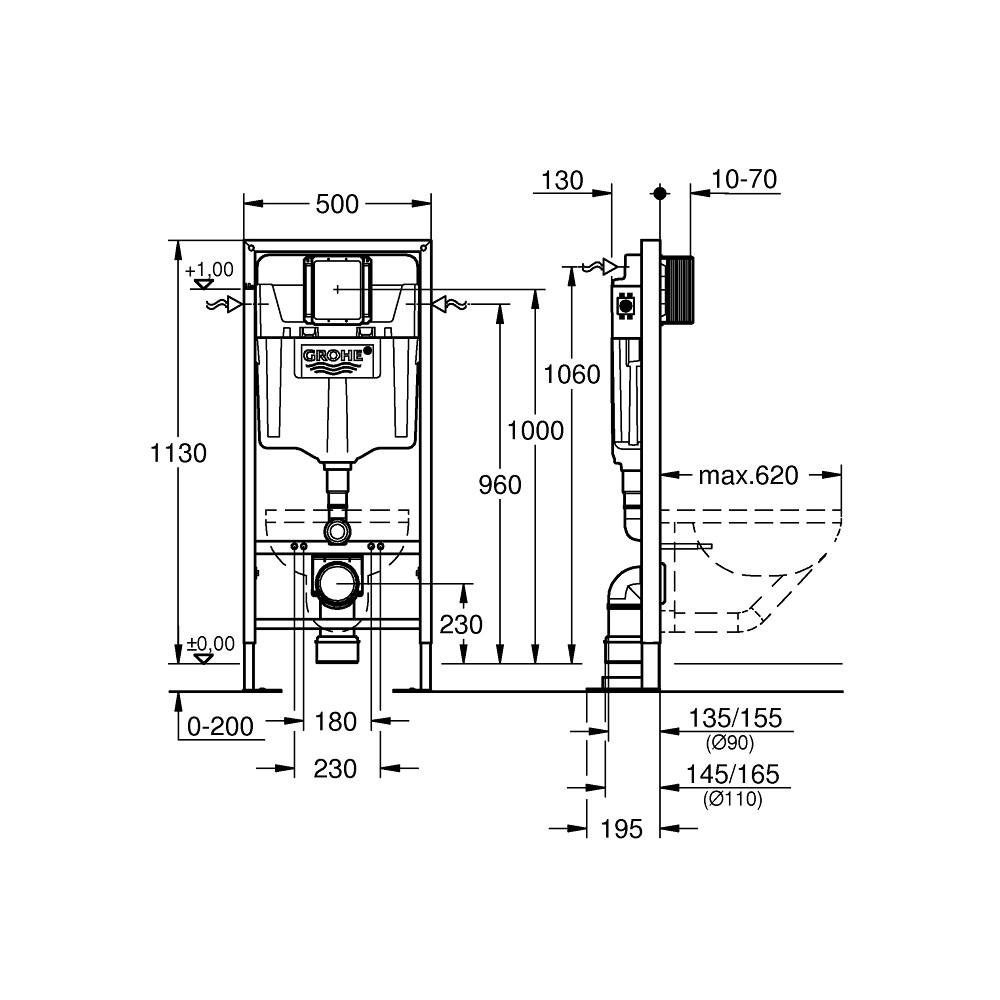 Инсталляция Grohe Rapid SL 38584001 для унитаза, для отдельностоящая установка