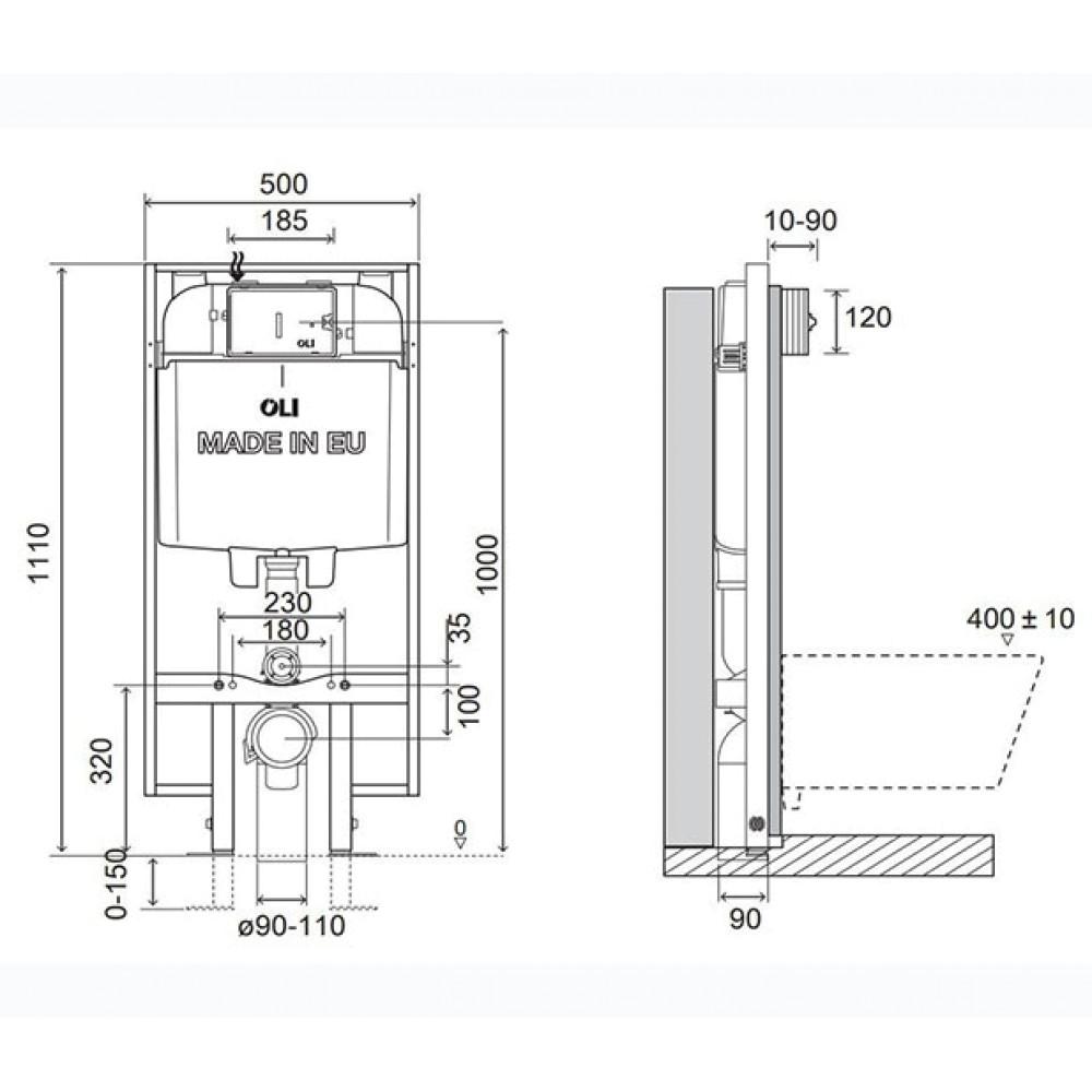 Инсталляция для унитаза OLI 74 Plus S90 601803, механическая, узкая