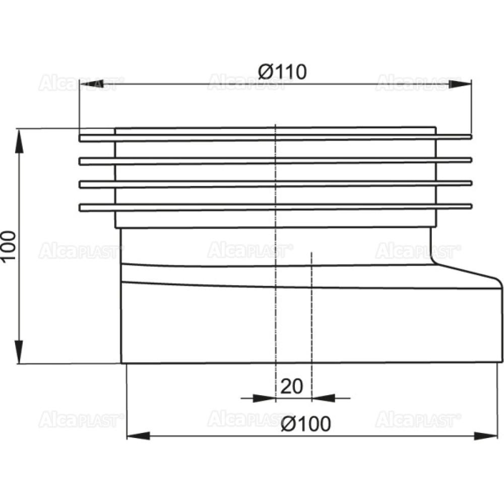 Манжета для унитаза Alcaplast A990 эксцентриковая