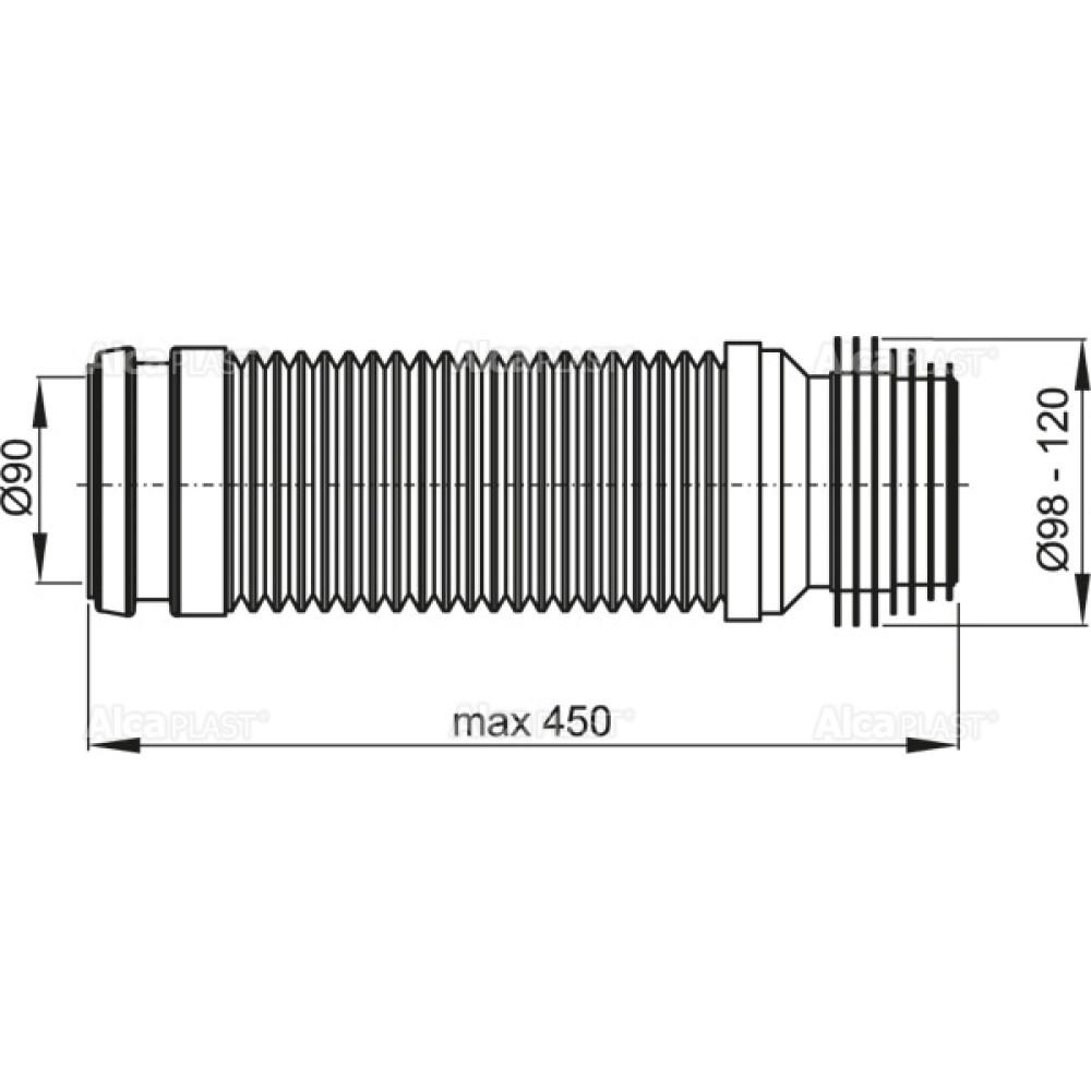 Гибкая подводка (гофра) для унитаза Alcaplast M9006