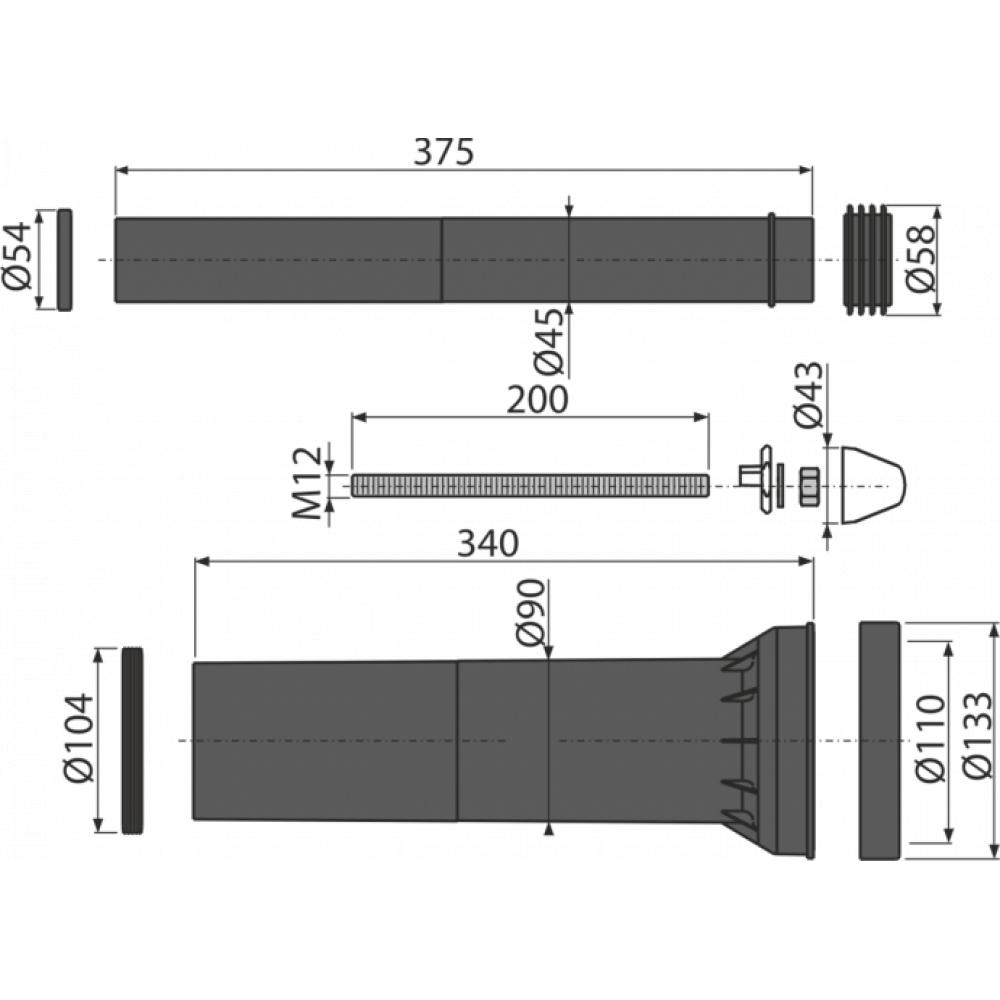 Alcaplast M9000 Комплект смыва, удлиненный