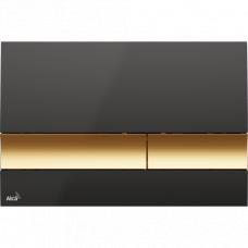 Кнопка смыва Alcaplast M1728-5, черная панель, золотые кнопки