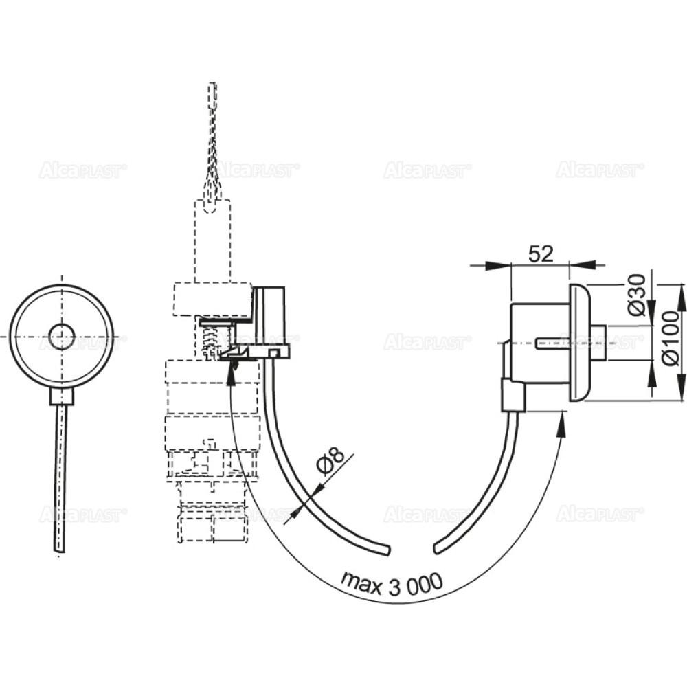 Кнопка дистанционного смыва унитаза Alcaplast MPO10