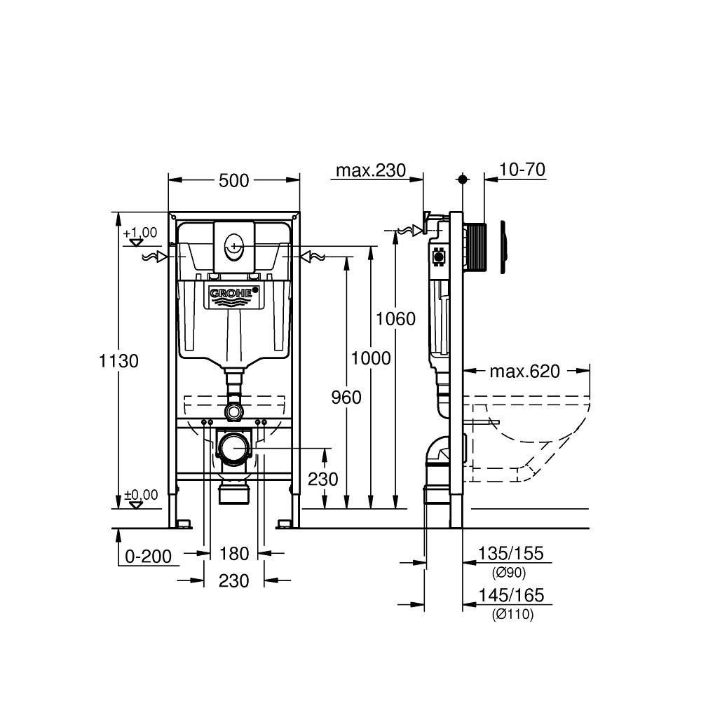 Инсталляция для унитаза 3 в 1 Grohe Rapid SL 38722001 комплект с белой кнопкой