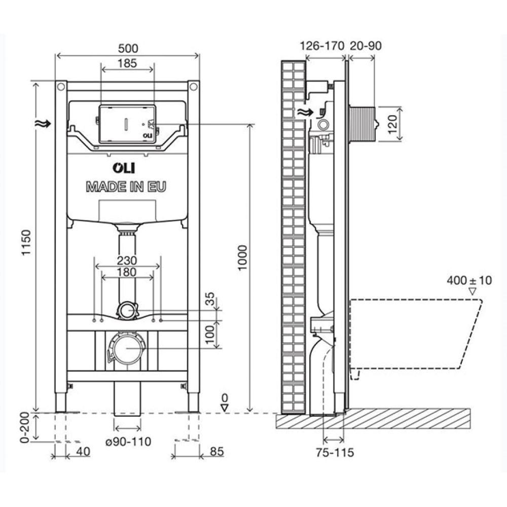 OLI120 Plus Sanitarblock Hydroboost 878846 Инсталляция для унитаза