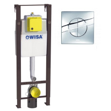 Инсталляция для унитаза WISA XS WC basic LM 8050.452767 с клавишей XS Maro DF 8050.414451, глянцевый хром