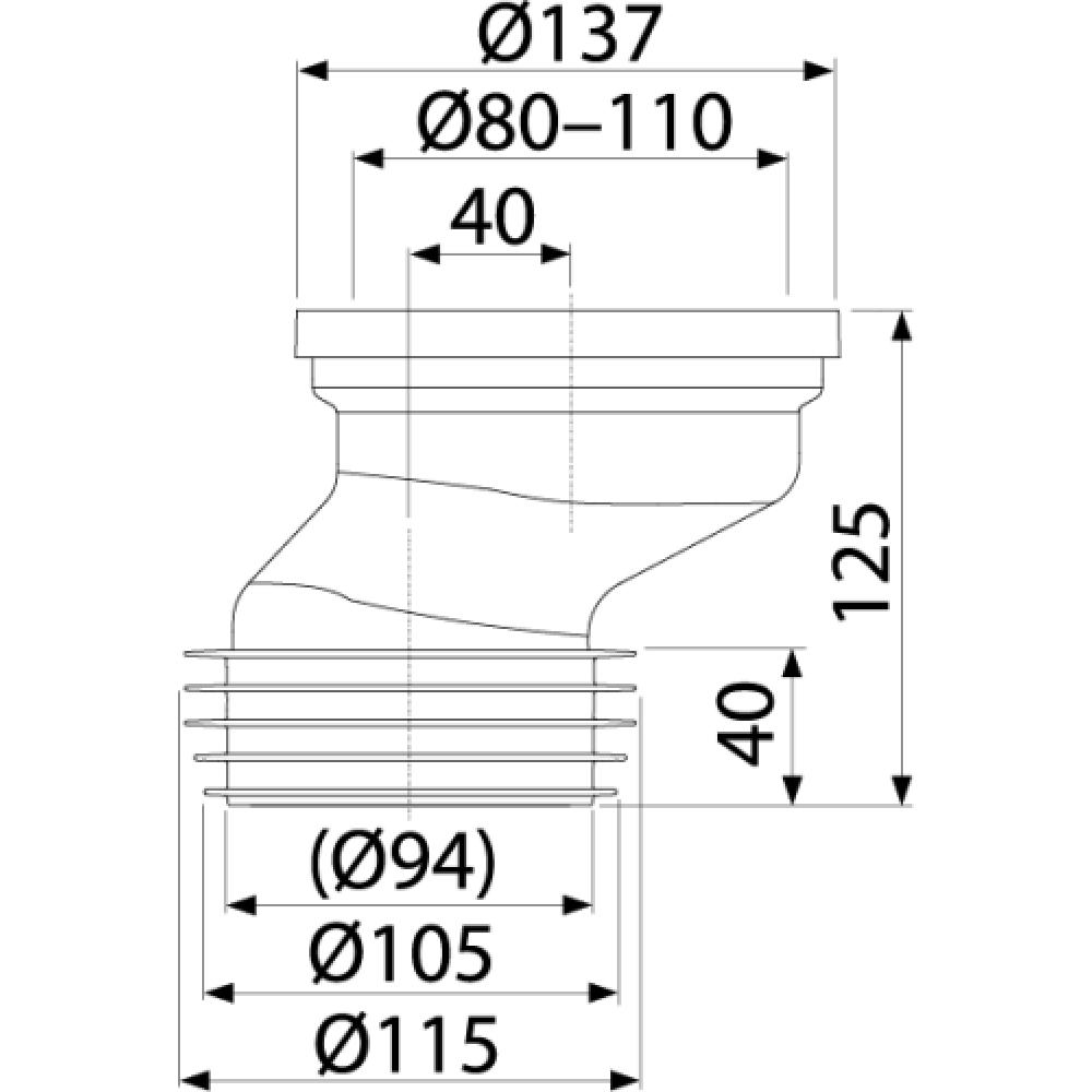 Манжета для унитаза Alcaplast A991-40 эксцентриковая