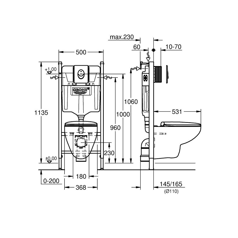 GROHE Solido 39419000 Комплект инсталляции с подвесным унитазом 5 в 1