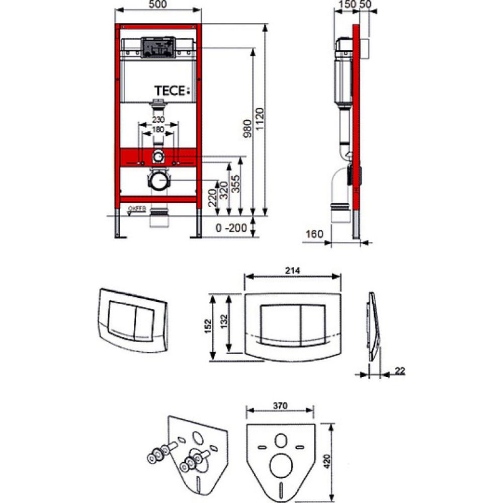 TECEbase 9400005 Застенный модуль 4 в 1, комплект с клавишей TECEambia, хром