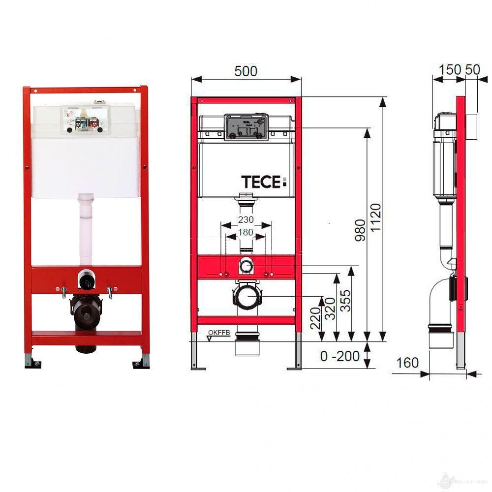 TECEbase 9400013 комплект, застенный модуль для унитаза 4 в 1 кнопка TECEnow, белая (ст. K400400)
