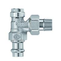 Клапан радиаторный запорный, с дренажом IMI Heimeier Regulux 0341-15.000 угловой ДУ15 1/2 с пресс-фитингом
