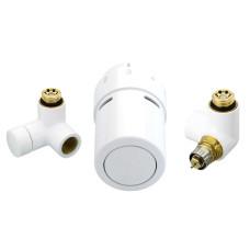 Danfoss Комплект RTX set для подключения терморегулятора справа, белый 013G4136, состоит из клапана терморегулятора, термостатического элемента и запорного клапана