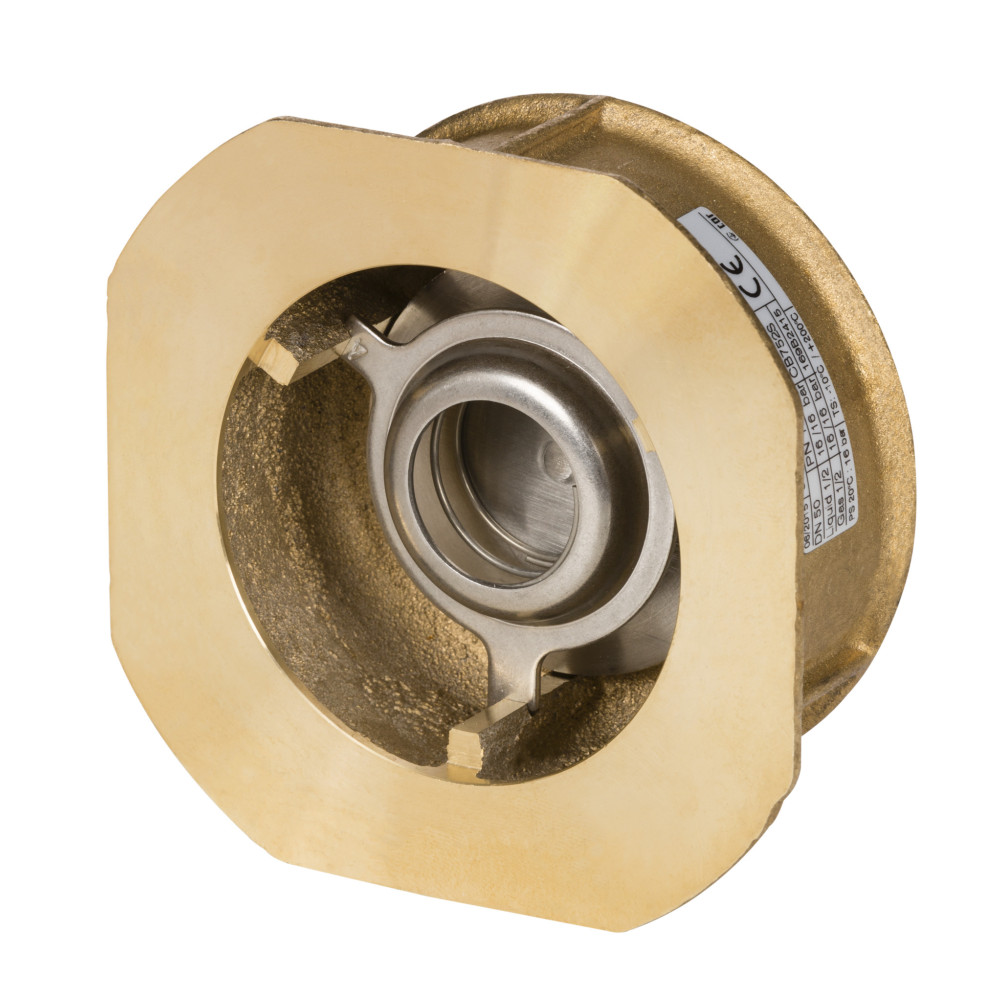 Клапан обратный Danfoss NVD 802 065B7521 пружинный, межфланцевый, ДУ 40, Kvs=28, латунный