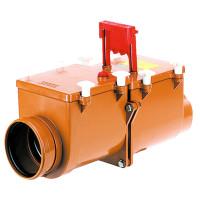 HL HL710.2 Механический канализационный затвор DN110 с 2 заслонками из нержавеющей стали и ручным затвором