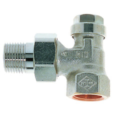 Клапан радиаторный запорный, с дренажом IMI Heimeier Regulux 0351-03.000 угловой ДУ20 3/4 бронза