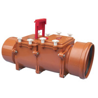 HL HL720.2 Канализационный затвор для труб с DN 200, с двумя заслонками из нержавеющей стали и с ручным затвором