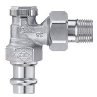 Клапан радиаторный запорный IMI Heimeier Regutec 0345-15.000 угловой ДУ15 1/2 бронза с пресс-фитингом