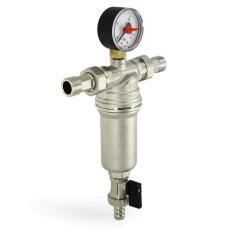 """Фильтр промывной Uni-Fitt 214A2300 ВН 1/2"""" х 3/4"""" со сливным шаровым краном и манометром, никелированный"""