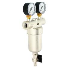 """Фильтр промывной Uni-Fitt 216G4030 ВВ 1"""" со сливным шаровым краном и 2 манометрами, 300 мкм, никелированный"""