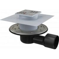 Сливной трап Alcaplast APV3344, сухой гидрозатвор, для ванных комнат и душевых, металлический фартук