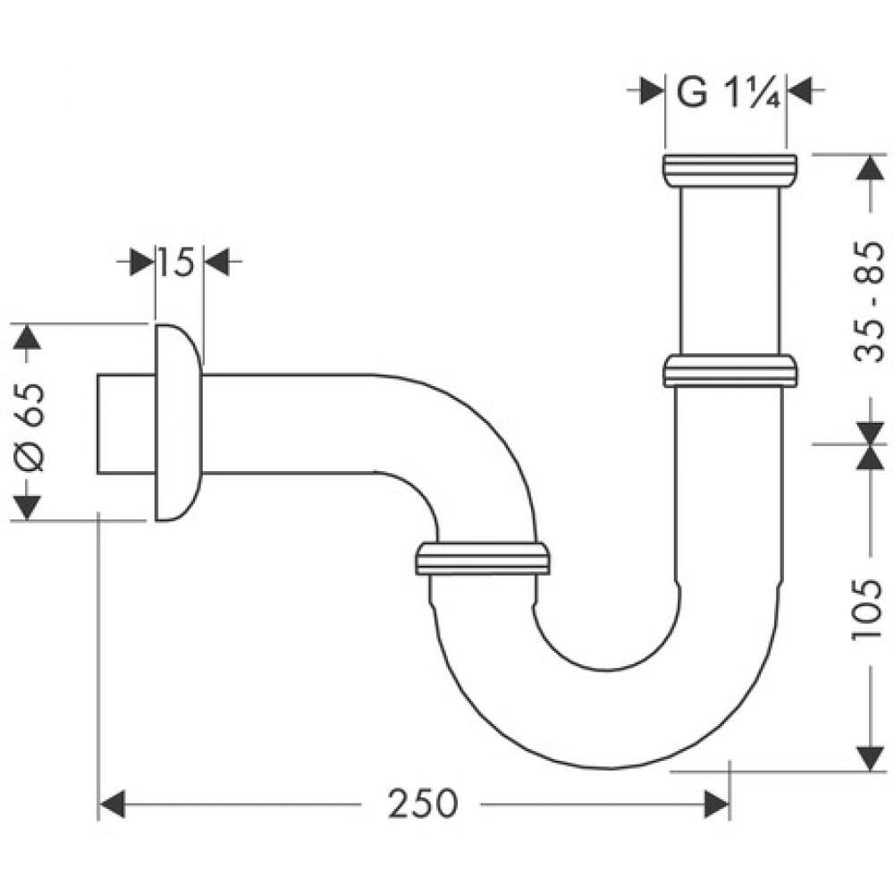 Сифон для раковины Hansgrohe 53002000, хром, трубчатый