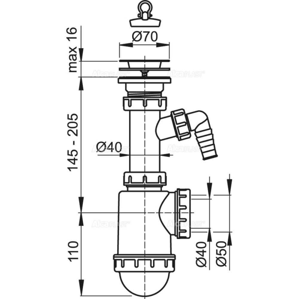 Cифон для мойки Alcaplast A441P c нержавеющей peшeткой DN70 и штуцером