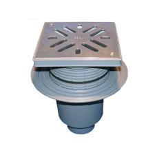 Трап уличный HL HL616S Perfekt DN110 вертикальный с обжимным фланцем, нерж. сталь с морозоустойчивой запахозапирающей заслонкой
