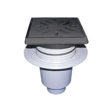 Трап уличный HL HL616.1 Perfekt DN110 вертикальный с обжимным фланцем, чугун с морозоустойчивой запахозапирающей заслонкой