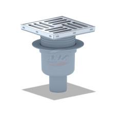 Трап для душа АНИ пласт TQ5712 вертикальный регулируемый, d 50мм, с нержавеющей решеткой 150x150 сухой