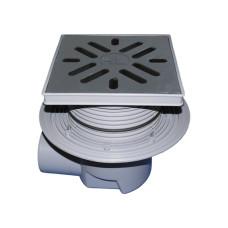 Трап уличный HL HL615 Perfekt DN110 горизонтальный с обжимным фланцем, чугун, с морозоустойчивой запахозапирающей заслонкой